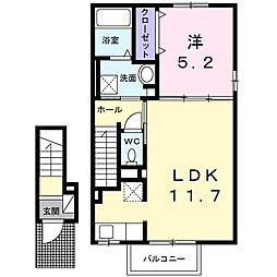 東武小泉線 篠塚駅 5.1kmの賃貸アパート 2階1LDKの間取り