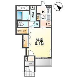 JR高崎線 籠原駅 徒歩3分の賃貸アパート 1階1Kの間取り