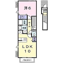 JR東北本線 白岡駅 徒歩6分の賃貸アパート 2階1LDKの間取り