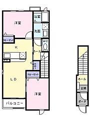 JR高崎線 本庄駅 徒歩23分の賃貸アパート 2階2LDKの間取り
