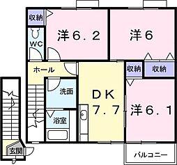 JR予讃線 宇多津駅 徒歩11分の賃貸アパート 2階3DKの間取り