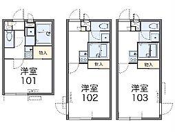 西武新宿線 東村山駅 徒歩7分の賃貸アパート 1階1Kの間取り