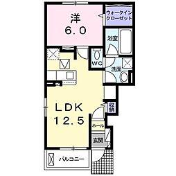 クレメント桜の町 1階1LDKの間取り