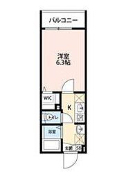 東武東上線 成増駅 徒歩5分の賃貸アパート 2階1Kの間取り