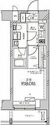 JR高崎線 尾久駅 徒歩4分の賃貸マンション 5階1Kの間取り