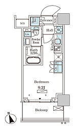 パークアクシス大塚ステーションゲートタワ 19階ワンルームの間取り