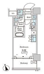 JR山手線 大塚駅 徒歩2分の賃貸マンション 19階ワンルームの間取り