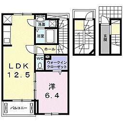 JR東海道本線 西小坂井駅 徒歩6分の賃貸アパート 3階1LDKの間取り