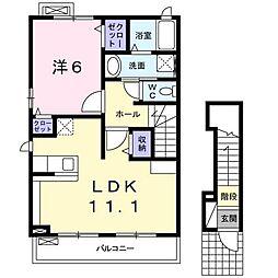 東武日光線 楡木駅 バス30分 上石川十文字下車 徒歩13分の賃貸アパート 2階1LDKの間取り
