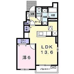 東武宇都宮線 壬生駅 徒歩8分の賃貸アパート 1階1LDKの間取り