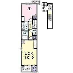東武日光線 新鹿沼駅 徒歩14分の賃貸アパート 2階1LDKの間取り