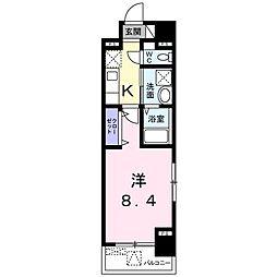 JR鹿児島本線 箱崎駅 徒歩5分の賃貸マンション 3階1Kの間取り