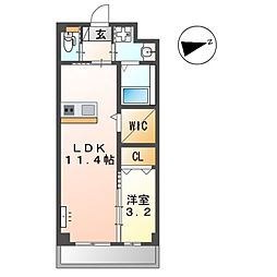 JR篠栗線 柚須駅 徒歩17分の賃貸アパート 1階1LDKの間取り