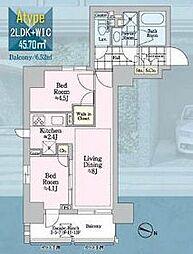 都営新宿線 岩本町駅 徒歩5分の賃貸マンション 12階2LDKの間取り
