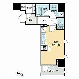 都営新宿線 岩本町駅 徒歩5分の賃貸マンション 6階ワンルームの間取り