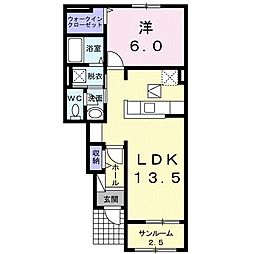 JR両毛線 足利駅 徒歩36分の賃貸アパート 1階1LDKの間取り