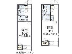 JR常磐線 荒川沖駅 バス20分 中郷下車 徒歩5分の賃貸アパート 2階1Kの間取り