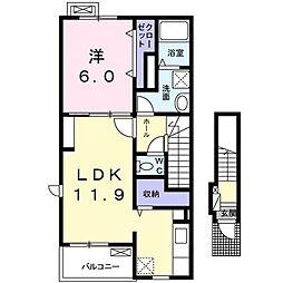 JR両毛線 大平下駅 徒歩4分の賃貸アパート 2階1LDKの間取り