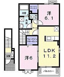 JR両毛線 小俣駅 徒歩14分の賃貸アパート 2階2LDKの間取り