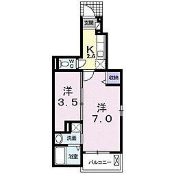 豊橋鉄道東田本線 東八町駅 徒歩28分の賃貸アパート 1階1Kの間取り