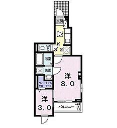 豊橋鉄道東田本線 東八町駅 徒歩10分の賃貸アパート 1階1Kの間取り