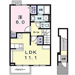 JR湖西線 安曇川駅 徒歩6分の賃貸アパート 2階1LDKの間取り