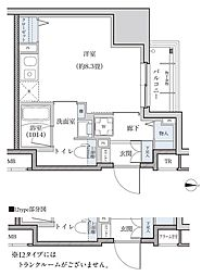 名古屋市営東山線 新栄町駅 徒歩8分の賃貸マンション 15階ワンルームの間取り
