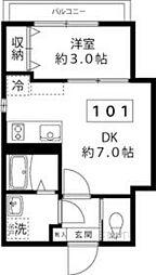 東京メトロ南北線 王子駅 徒歩10分の賃貸マンション 1階1DKの間取り
