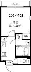 東京メトロ南北線 王子駅 徒歩10分の賃貸マンション 4階1Kの間取り