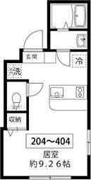 東京メトロ南北線 王子駅 徒歩10分の賃貸マンション 2階ワンルームの間取り