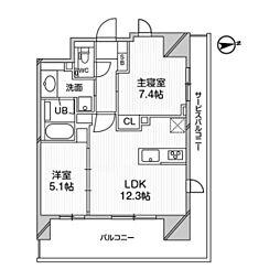 都営浅草線 高輪台駅 徒歩5分の賃貸マンション 10階2LDKの間取り