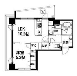 都営新宿線 曙橋駅 徒歩4分の賃貸マンション 2階1LDKの間取り