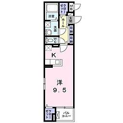 阪急京都本線 南茨木駅 徒歩15分の賃貸マンション 4階1Kの間取り