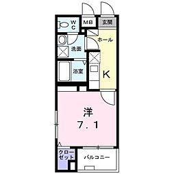 フィオーレ 3階1Kの間取り