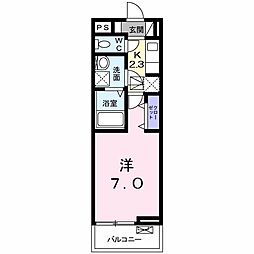 JR青梅線 中神駅 徒歩6分の賃貸アパート 1階1Kの間取り