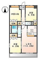 JR常磐線 大津港駅 徒歩14分の賃貸マンション 1階3LDKの間取り
