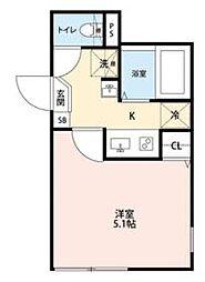 JR常磐線 北千住駅 徒歩8分の賃貸マンション 4階1Kの間取り