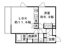 東急池上線 御嶽山駅 徒歩4分の賃貸マンション 2階1LDKの間取り