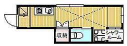 JR中央線 国分寺駅 徒歩7分の賃貸アパート 1階ワンルームの間取り