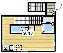 JR京浜東北・根岸線 蒲田駅 徒歩13分の賃貸アパート 2階ワンルームの間取り