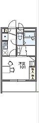 京王線 東府中駅 徒歩12分の賃貸マンション 2階1Kの間取り