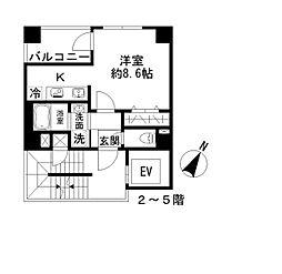 Azur勝どき4丁目 5階1Kの間取り
