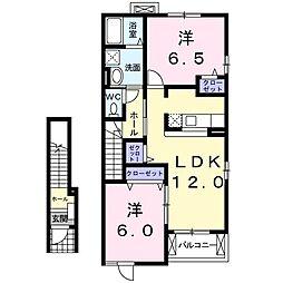 JR高崎線 熊谷駅 バス25分 小原十字路下車 徒歩13分の賃貸アパート 2階2LDKの間取り