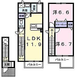 ドルフ・サンフラワー 2階2LDKの間取り