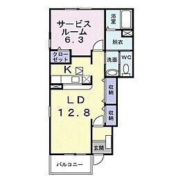 阪急神戸本線 武庫之荘駅 徒歩15分の賃貸アパート 1階1Kの間取り