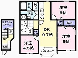 JR青梅線 東青梅駅 徒歩23分の賃貸アパート 2階3DKの間取り