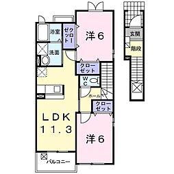 JR横須賀線 東戸塚駅 バス8分 芹が谷団地前下車 徒歩4分の賃貸アパート 2階2LDKの間取り