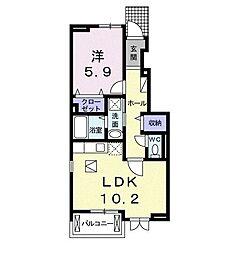 JR高崎線 本庄駅 5.2kmの賃貸アパート 1階1LDKの間取り