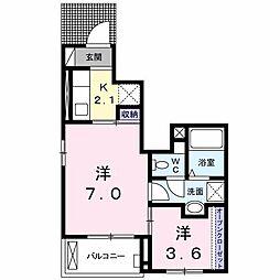 JR両毛線 新前橋駅 徒歩19分の賃貸アパート 1階1SKの間取り