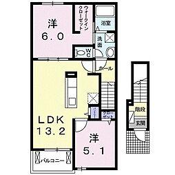 名鉄名古屋本線 御油駅 徒歩10分の賃貸アパート 2階2LDKの間取り